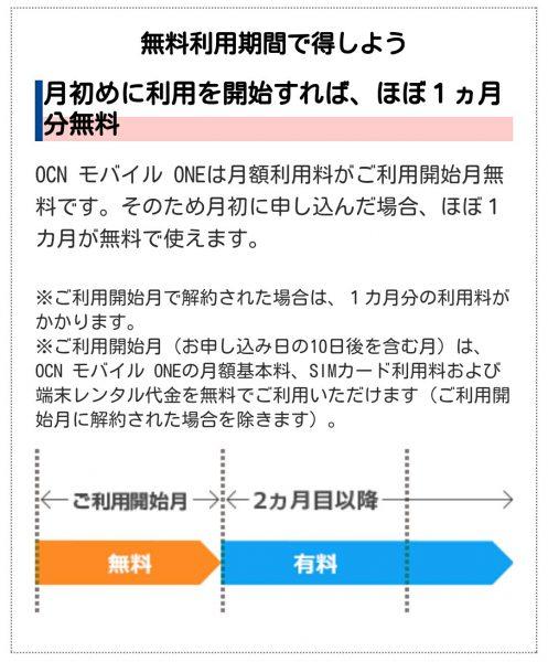 OCNモバイルONEのその他特典 初月無料