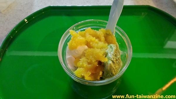 桃園空港のエバー航空ラウンジで焼き芋アイスを食べたら美味しかった話